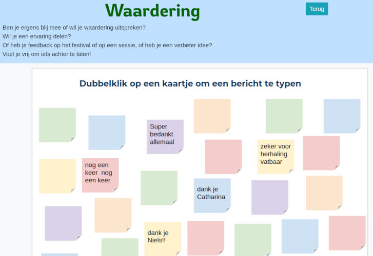 Interactive sticky notes for online festival